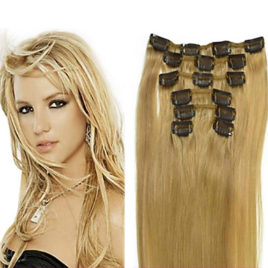 Clip In Human Hair Extensions Human Hair High Quality Straight Classic Daily
