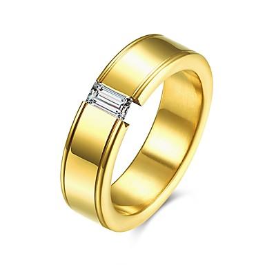 Bărbați Band Ring Zirconiu Cubic Auriu Titan Geometric Shape Line Shape Personalizat Lux Clasic De Bază Modă stil minimalist Crăciun