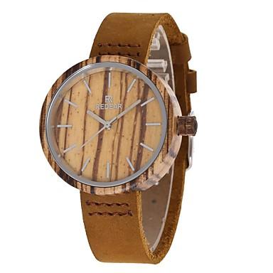 Damen Modeuhr Uhr Holz Japanisch Quartz hölzern Echtes Leder Band Charme Freizeit Braun