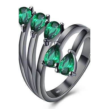 Dames Synthetische Diamant Groen Blauw Licht Roze Roestvast staal Legering Bloem Modieus Feest Verjaardag Dagelijks Kostuum juwelen