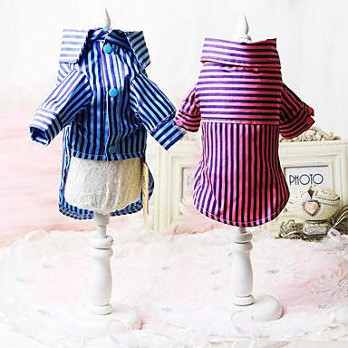 كلب T-skjorte ملابس الكلاب مخطط أزرق زهري قطن بطانة فرو كوستيوم للحيوانات الأليفة صيف للرجال للمرأة كاجوال / يومي