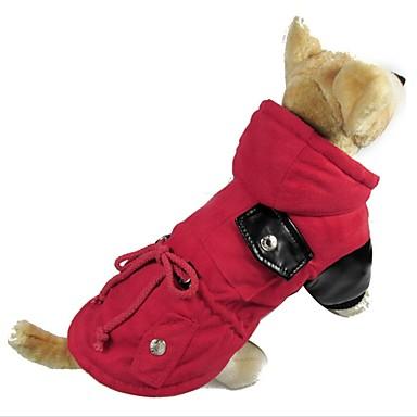 كلب المعاطف ملابس الكلاب سادة بني أحمر قطن سويدي كوستيوم للحيوانات الأليفة كاجوال/يومي الدفء
