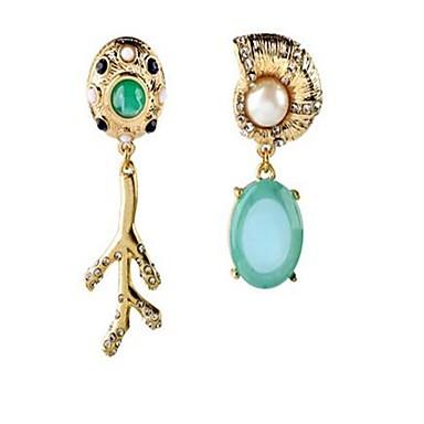 Dames Druppel oorbellen Imitatie Parel Bergkristal Gepersonaliseerde Vintage Modieus wanverhouding Legering Ovalen vorm Sieraden Voor