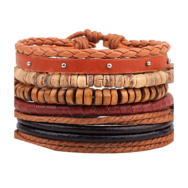 Men's Leather Leather Bracelet Wrap Bracelet Strand Bracelet - Personalized DIY Handmade Round Brown Bracelet For Casual Stage Club