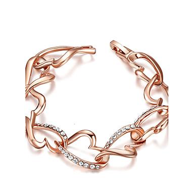 للمرأة أساور السلسلة والوصلة مكعب زركونيا موضة مطلية بالذهب Heart Shape مجوهرات من أجل حزب