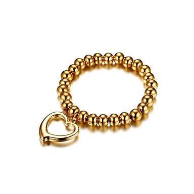 للمرأة أساور السلسلة والوصلة حب موضة اسلوب لطيف ذهبي تيتانيوم معدني Heart Shape مجوهرات من أجل زفاف خطوبة مراسم حفلة ليلية