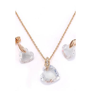 للمرأة مكعب زركونيا مطلية بالذهب بوهيميان قلب مجموعة مجوهرات - بوهيميان قلب أقراط الزر قلائد الحلي من أجل حزب