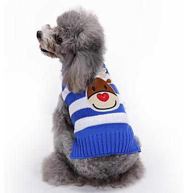Собака Плащи Свитера Одежда для собак Северный олень Черный Красный Синий Акриловые волокна Костюм Для домашних животных Муж. Жен. Для