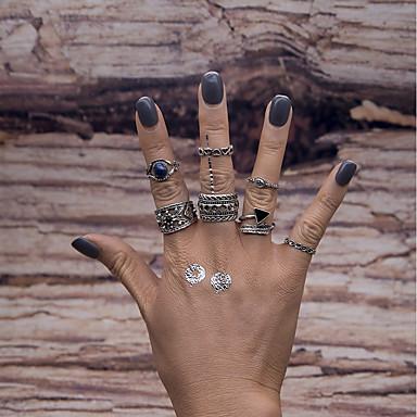 Damen Aleación - Geometrische Form Retro Modisch Silber Ring Für Party