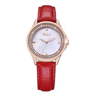 Dames Modieus horloge Kwarts Echt leer Band Wit Rood Roze