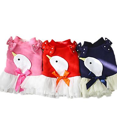 كلب الفساتين ملابس الكلاب ببيونة أزرق داكن أحمر زهري قطن بطانة فرو كوستيوم للحيوانات الأليفة كاجوال / يومي