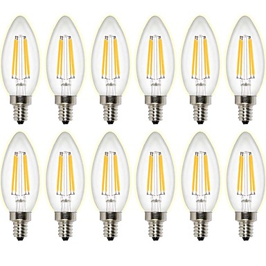 12st 4W 400 lm LED Glühlampen C35 4 Leds COB Abblendbar Dekorativ Warmes Weiß AC 220-240 AC 110-130 V