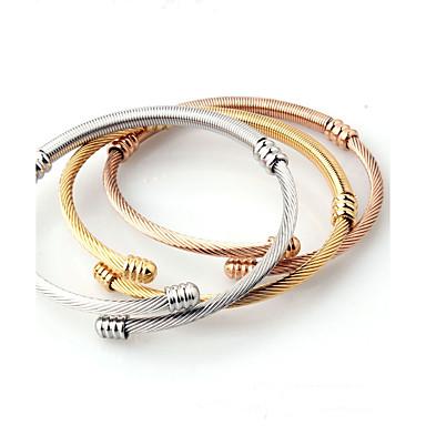 Bărbați Pentru femei Brățări Bangle Brățări Bantă Metalic Clasic Deschis Modă stil minimalist Oțel titan Rotund Bijuterii Nuntă Zi de