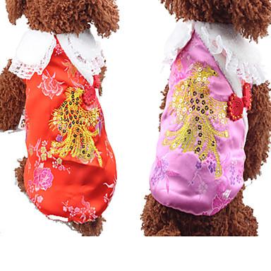Hond Gilet Hondenkleding Nieuwjaar Flora/Botanisch Rood Roze Kostuum Voor huisdieren