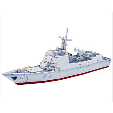 قطع تركيب3D تركيب النماذج الخشبية سفينة حربية سفينة مدمر اصنع بنفسك خشبي كلاسيكي للأطفال للجنسين هدية