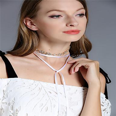 Pentru femei Leaf Shape Line Shape Formă Personalizat Ciucure Multistratificat Multi-moduri Wear Modă Coliere Choker Lănțișoare Ștras