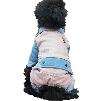 Hund Overall Hundekleidung Britisch Grau Rosa Baumwolle Daune Kostüm Für Haustiere Lässig / Alltäglich