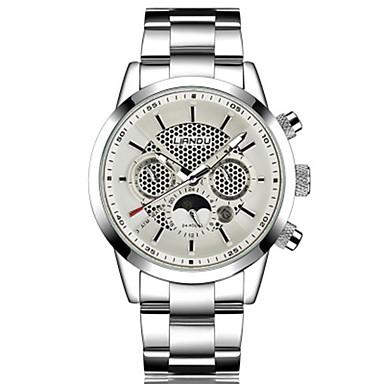 Herrn Quartz Armbanduhr Schlussverkauf Edelstahl Band Freizeit Modisch Schwarz Weiß Silber