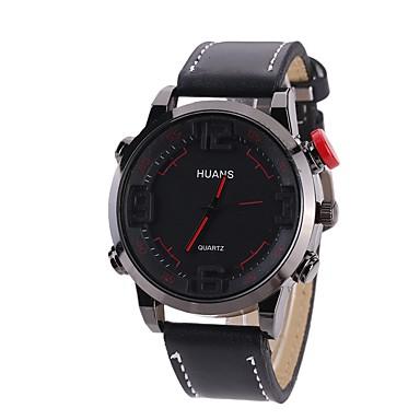 Bărbați Quartz Ceas de Mână Ceas Sport Chineză Mare Dial PU Bandă Casual Unic Watch Creative Modă Negru Maro