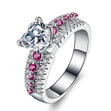 Damen Luxus Synthetischer Rubin / Kubikzirkonia Platiert Bandring - Kreisform Luxus / Retro / Elegant Silber Ring Für Hochzeit /