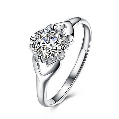 Pentru femei manşetă Ring Zirconiu Cubic Personalizat Lux Ciucure Clasic De Bază Iubire Modă Ajustabile stil minimalist Elegant Argintiu