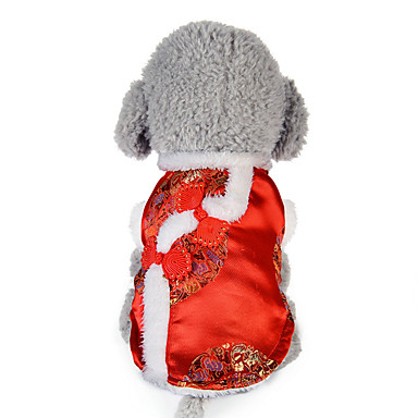 Hond Gilet Hondenkleding Flora / Botanisch Rood Katoen Dons Kostuum Voor huisdieren Nieuwjaar