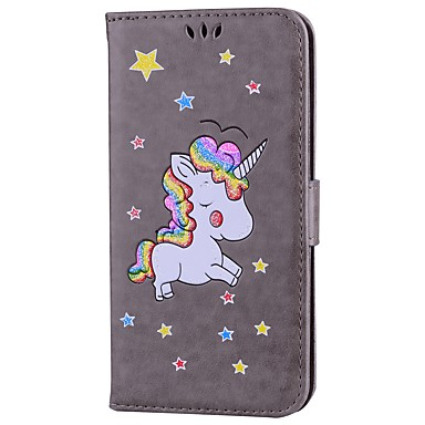 Capinha Para Apple iPhone 7 Plus iPhone 7 Porta-Cartão Com Suporte Flip Estampada Capa Proteção Completa Unicórnio Glitter Brilhante