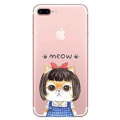 Maska Pentru Apple Transparent Model Carcasă Spate Pisica Cuvânt / expresie Moale TPU pentru iPhone 7 Plus iPhone 7 iPhone 6s Plus iPhone