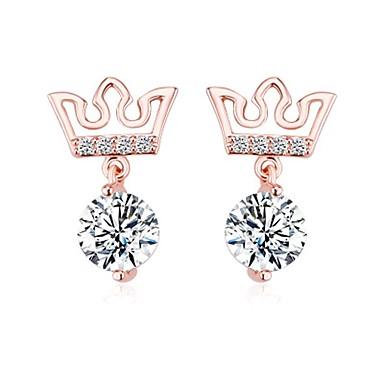 Pentru femei Cercei Stud Zirconiu Cubic La modă bijuterii de lux Teak Zirconiu Cubic Crown Shape Bijuterii Pentru