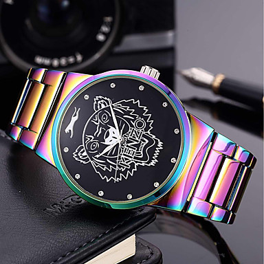 cheap Women's Watches-Men's Women's Bracelet Watch Wrist Watch Quartz Stainless Steel Green / Purple 30 m Creative Cool Punk Analog Charm Luxury Casual Rainbow Bangle - Green Blue / Purple Two Years Battery Life