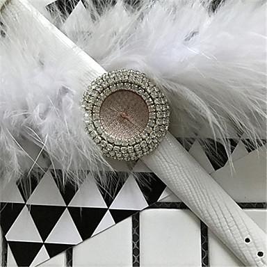 Pentru femei Ceas La Modă Simulat Diamant Ceas Ceasuri Pave Quartz Piele Bandă Sclipici Negru Alb Roșu Auriu
