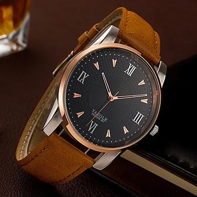 YAZOLE Bărbați Unic Creative ceas Ceas La Modă Ceas de Mână Quartz PU Bandă Lux Casual Elegant Cool Negru Maro