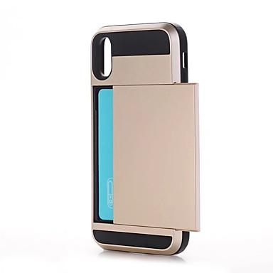 Pentru iPhone X iPhone 8 Carcase Huse Titluar Card Anti Șoc Carcasă Spate Maska Culoare solidă Greu PC pentru Apple iPhone X iPhone 8