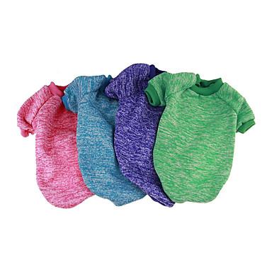 Собака Толстовка Комбинезоны Одежда для собак Однотонный Пурпурный Красный Зеленый Синий Розовый Хлопок Костюм Для домашних животных На