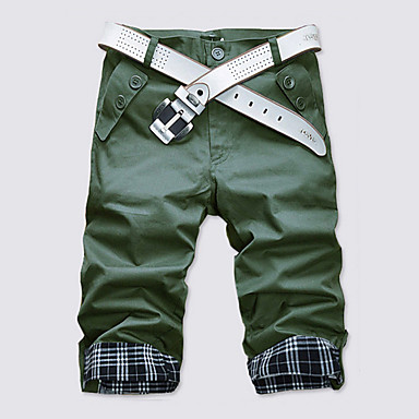 economico Abbigliamento uomo-Per uomo Essenziale Quotidiano Fine settimana Taglia piccola Dritto / Pantaloncini Pantaloni - A quadri Cotone Verde Cachi Royal Blue L XL XXL / Estate