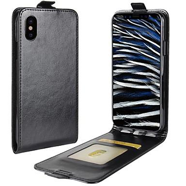 Кейс для Назначение IPhone 7 / Apple / iPhone X iPhone X / iPhone XS / iPhone XR Бумажник для карт / Флип Чехол Однотонный Твердый Кожа PU для iPhone XS / iPhone XR / iPhone XS Max