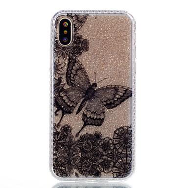 Pentru iPhone X iPhone 8 Carcase Huse Model Carcasă Spate Maska Fluture Luciu Strălucire Greu Acrilic pentru Apple iPhone X iPhone 8 Plus