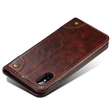 Maska Pentru Apple iPhone X iPhone 8 iPhone 8 Plus Titluar Card Portofel Cu Stand Întoarce Magnetic Carcasă Telefon Culoare solidă Greu