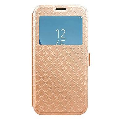 케이스 제품 Samsung Galaxy J7 (2017) J5 (2017) J3 (2017) 카드 홀더 지갑 스탠드 윈도우 플립 마그네틱 전체 바디 케이스 한 색상 기하학 패턴 하드 PU 가죽 용 J7 Prime J7 (2017) J7