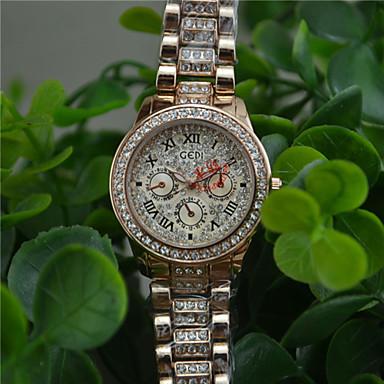 Pentru femei Simulat Diamant Ceas Ceasuri Pave Quartz Aliaj Bandă Sclipici Auriu