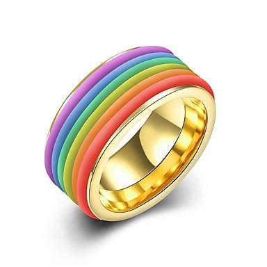 Bărbați Teak - Rotund Personalizat / Modă Auriu / Argintiu Inel Pentru Serată / Scenă