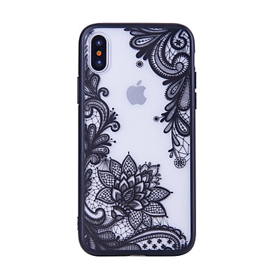 voordelige iPhone 6 Plus hoesjes-hoesje Voor Apple iPhone X / iPhone 8 Plus / iPhone 8 Patroon Achterkant Cartoon / Lace Printing / Bloem Hard PC