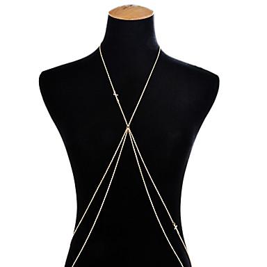 preiswerte Körperschmuck-Körper-Kette / Bauchkette Kreuz Kreuz Damen Gold Körperschmuck Für Party / Ausgehen