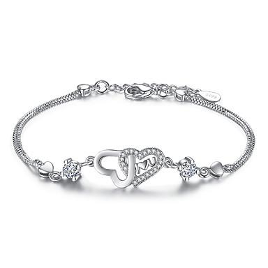 Femme Zircon Argent sterling Cœur Chaînes & Bracelets - Argent Violet Bracelet Pour Mariage Soirée