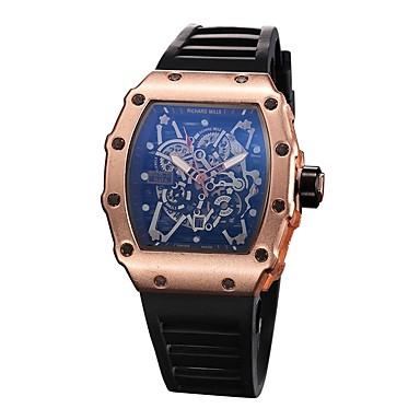 저렴한 남성용 시계-남성용 스포츠 시계 스켈레톤 시계 손목 시계 석영 고무 블랙 캐쥬얼 시계 아날로그 참 - 블랙 실버 로즈 골드