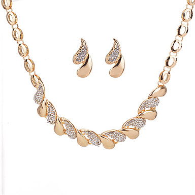 cheap Jewelry Sets-Women's Geometrical Jewelry Set Rhinestone Drop Ladies, Geometric Include Stud Earrings Necklace Gold / Silver For Daily Date