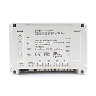 cheap Smart Switch-SONOFF® 4CH Pro 10A 2200W RF Inching/Self-Locking/Interlock Smart Home WIFI Wireless Switch APP AC 90V-250V / 5-24V DC