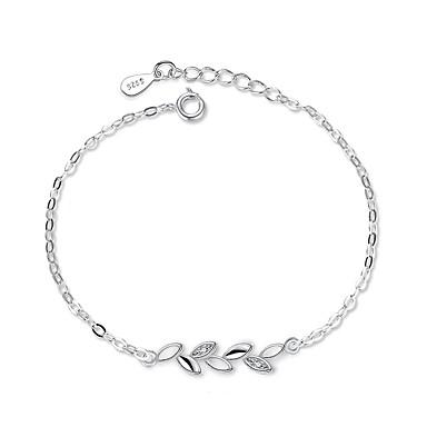 Femme Chaînes & Bracelets Zircon Zircon Plaqué argent Forme de Feuille Bijoux Cadeau Quotidien Bijoux de fantaisie Argent