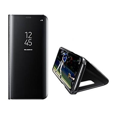 Capinha Para Samsung Galaxy S8 Plus S8 Com Suporte Espelho Auto Dormir/Despertar Capa Proteção Completa Côr Sólida Rígida PU Leather para