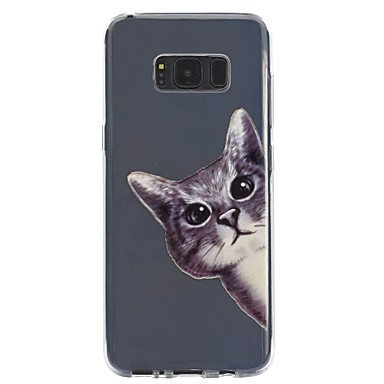 Недорогие Чехлы и кейсы для Galaxy S6-Кейс для Назначение SSamsung Galaxy S8 Plus / S8 / S7 edge Прозрачный / Рельефный / С узором Кейс на заднюю панель Кот Мягкий ТПУ